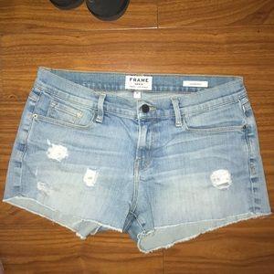 Frame Le Cuttoff Denim Distressed Shorts